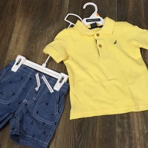 New boys nautica shirt and short set